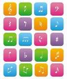 music note flat style icon sets