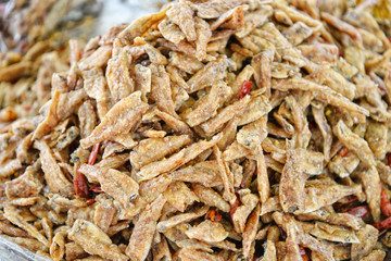 Small dried fish in the market