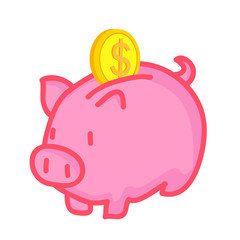 Piggy Bank saving isolated illustration