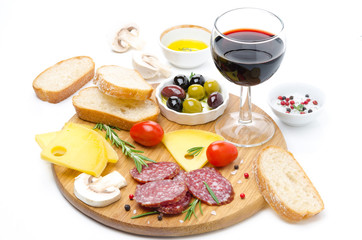 appetizers - salami, cheese, bread, olives, tomatoes, wine