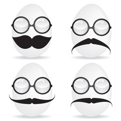 Egg with mustache and sunglasses