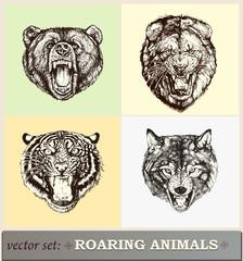 Vektor Illustration: brüllender Tiere