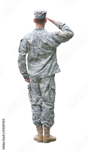 US Army soldier in saluting position isolated on white backgroun