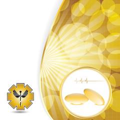 Abstract golden omega 3 medical background