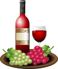 Rotwein Weintrauben Schale