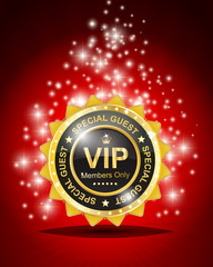 Vip label with red background