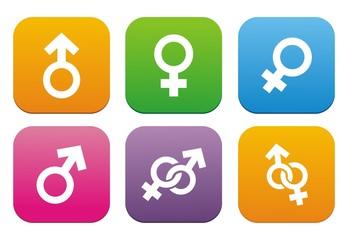male, female symbol - flat style icons