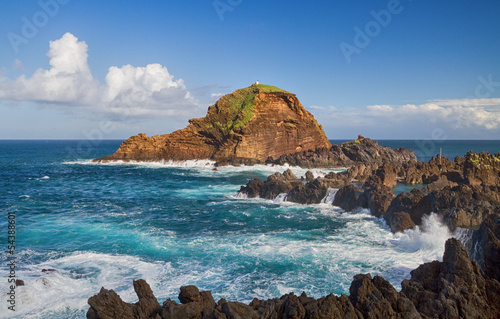 Seascape with lava rocks on Madeira.