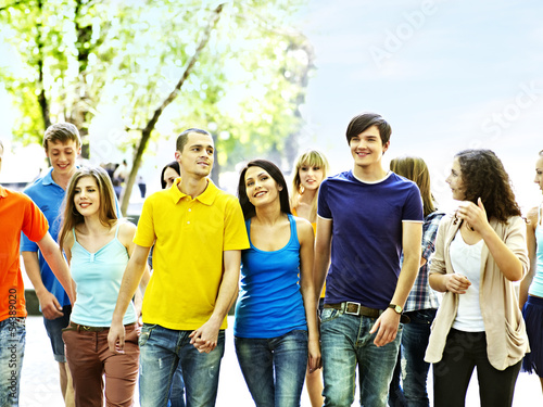 Group people in summer outdoor.