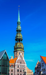 Old city in Riga with Saint Peter's church, Latvia