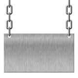 Silver metal signboard hanging on chains isolated on white