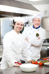 Two chefs working in the restaurant kitchen