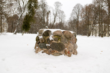 ancient pagan stone altar eternal fire snow winter