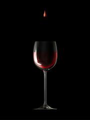 Edler Tropfen Rotwein mit Glas
