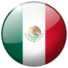 Mexico Round Glass realistic button on white background