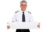 senior captain presenting blank white board