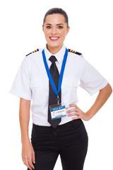 female airline co-pilot
