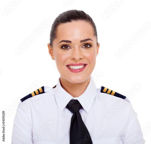 female airline pilot closeup portrait - 54393209