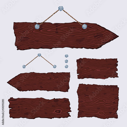Blank wooden signs (hanging and dark)