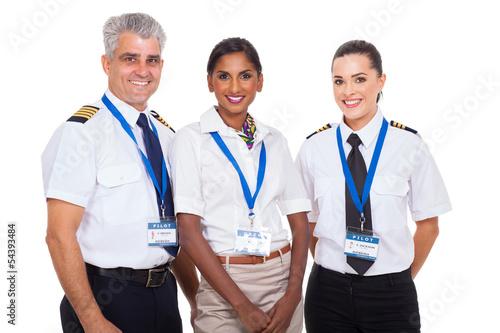 Leinwandbild Motiv airline crew standing on white background