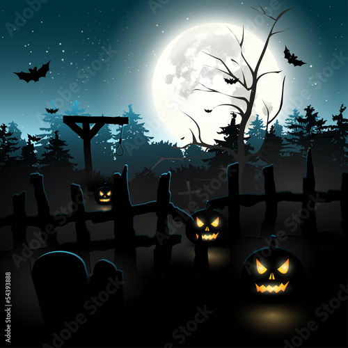Scary graveyard at night - Halloween background
