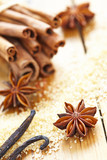Cinnamon sticks, brown sugar and anise stars