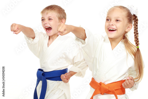 canvas print picture Boy and girl in kimono beat hand