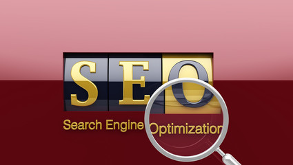 SEO on shiny roller with loupe