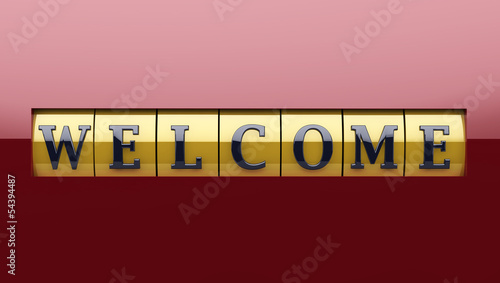 Welcome sign in red and gold