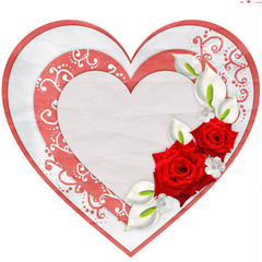 Paper heart with red roses isolated on white background