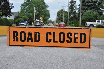 Road closed signage