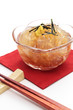 Japnese cuisine, Gelidium jelly Tokoroten with chopsticks