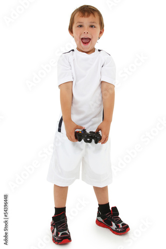 Adorable caucasian preschool boy with game controller and happy