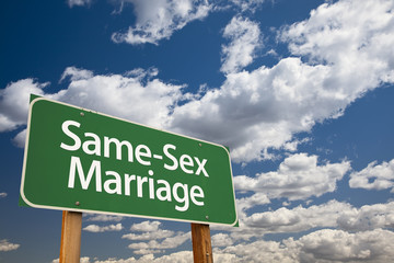 Same-Sex Marriage Green Road Sign and Clouds