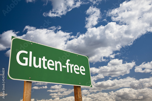 Gluten-free Green Road Sign and Clouds