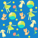 background with The little prince characters