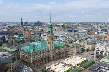 The city hall of Hamburg, view from the St.Peter's cathedral