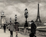 Drawing of Alexander III bridge in Paris showing Eiffel tower