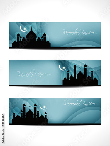 set of header or banner for ramadan and eid with mosque