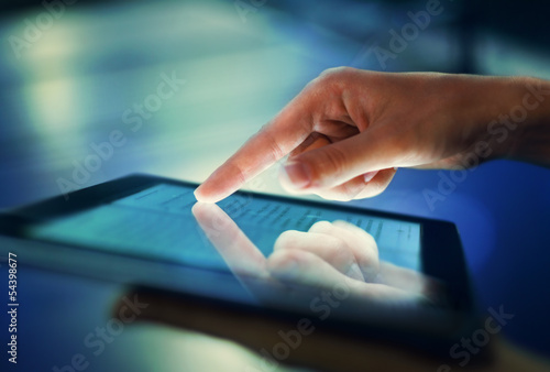 Image of hand pressing on screen digital tablet - 54398677