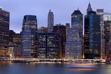 Manhattan building by night