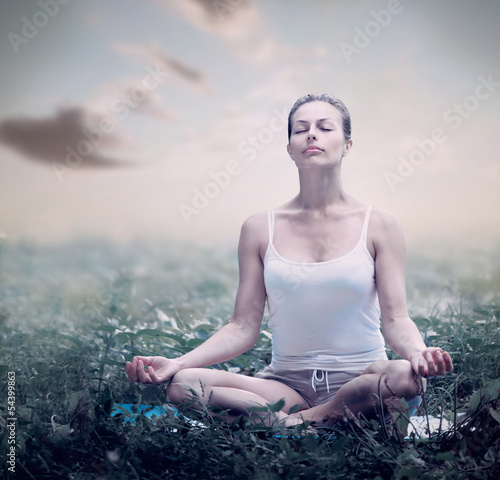 Meditation Woman. Yoga outdoor