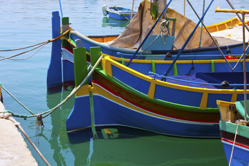 Maltese luzzu, traditional fishing boat from Malta.