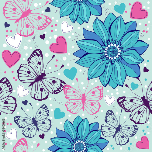 Floral seamless  with butterflies , abstract