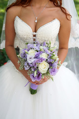 bride with a bouquet.