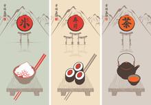 Tee, Sushi und Reis und Bilder von orientalischen Küche
