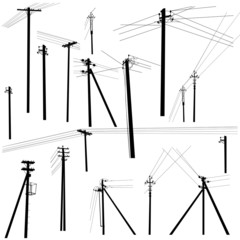 set of silhouettes of electric poles