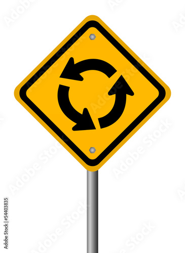 Traffic circle road sign, vector illustration
