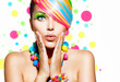 canvas print picture - Beauty Girl Portrait with Colorful Makeup, Hair and Accessories