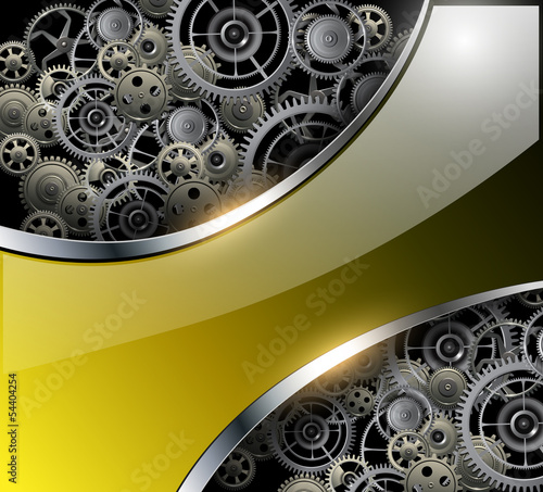 Abstract background with technology metal gears and cogwheels
